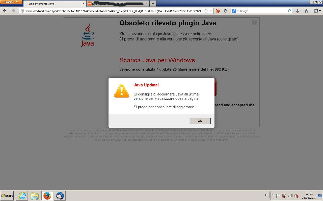 Obsoleto rilevato plugin Java