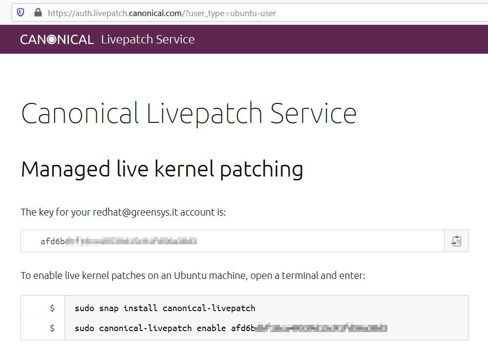 Canonical Livepatch patch di sicurezza senza riavvio